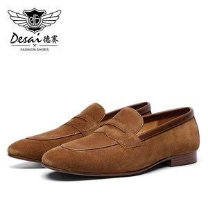 Image 5 - DESAI männer Casual Natura Echtem Leder Business Handgemachte Kleid Müßiggänger Männer Schuhe für Herren Loafer Atmungsaktive Hohe Qualität 2020