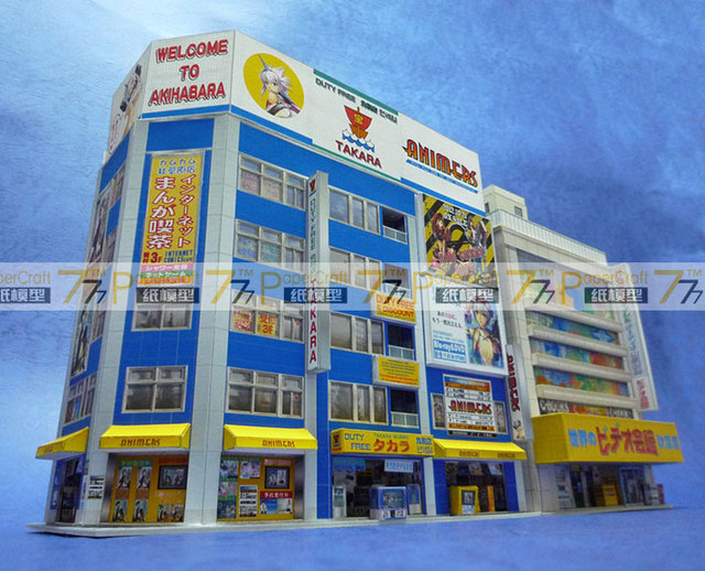 1:150 N-Scale Japanese Architectural Scenes Akihabara Electronics Building Paper Model 5