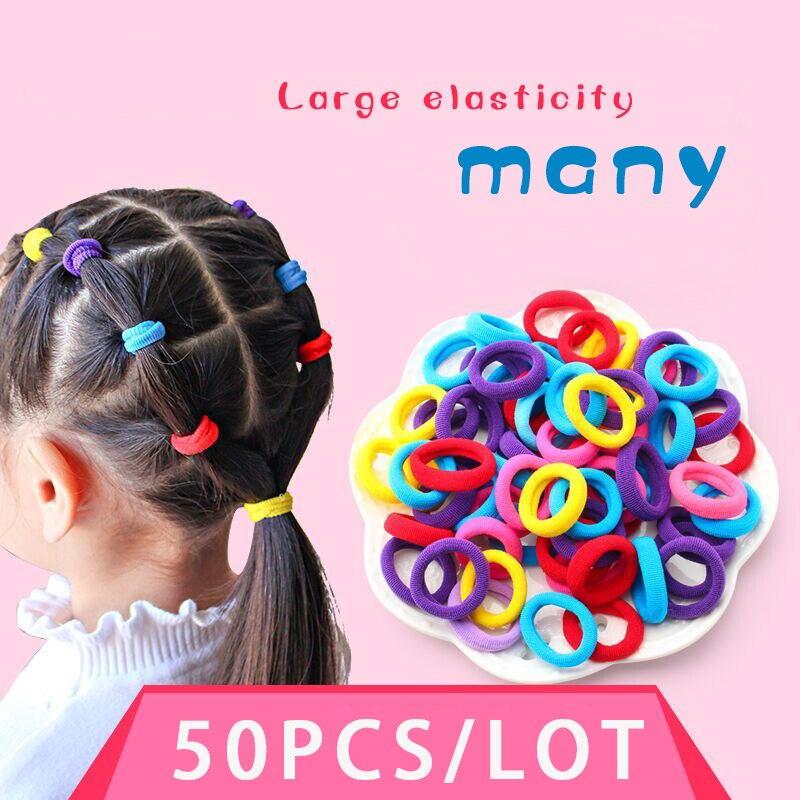 50pcs/lot, High Quality Girl Girl Elastic Hair Band, Stylish Seamless Towel Ring Hair Ring Diameter 2.5 CM Rubber Band Headdress