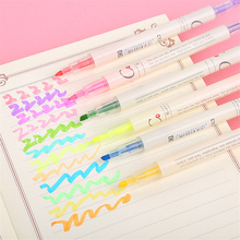 Double-Headed Two-Color Highlighter Stationery Colored Drawing For Student Supplies Marker Pen Candy Color Fluorescent Pens