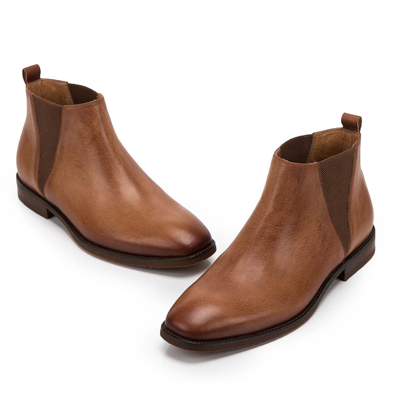 Vintage Genuine Leather Cow Mens British Style Ankle Chelsea Boots Soft Leather Male Low Heel Warm Breathable Brown Casual Shoes