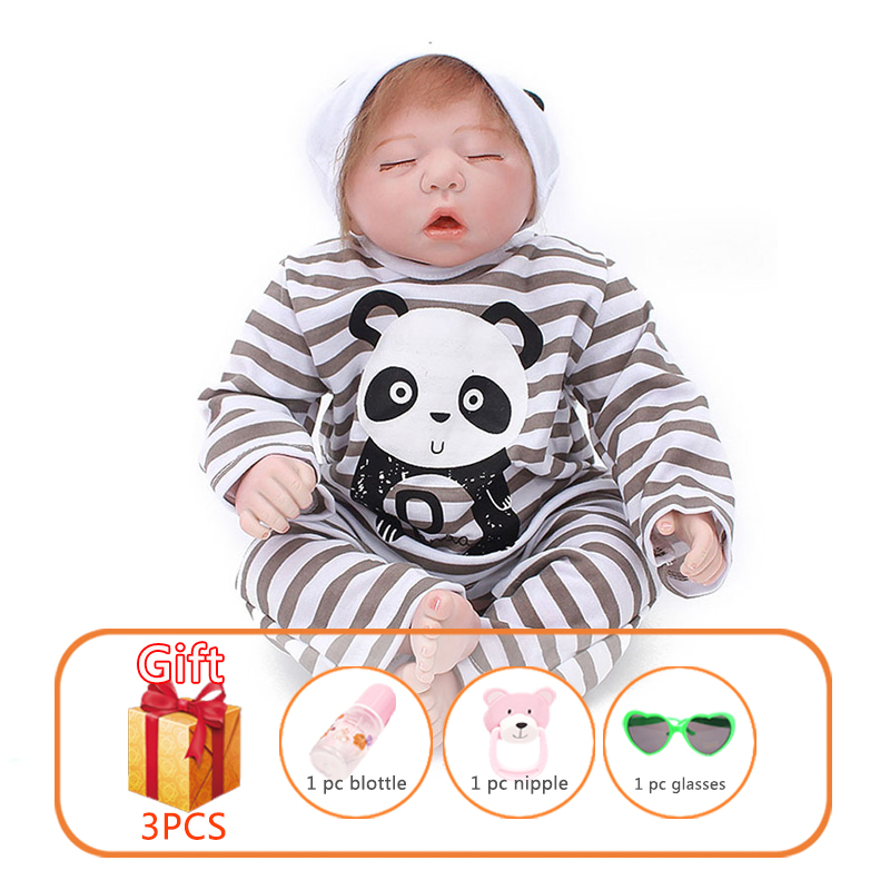 20 Inch Reborn Baby Doll Soft Silicone Limbs Cotton Body Lifelike Toddler Doll Baby Sleeping Toys