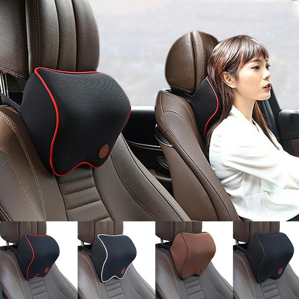 lowest price Car Headrest Leather Seat Head Pillow Seat Care Neck Support Modification For Tesla Model 3 Model S ModelX Universal Accessories
