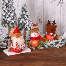 Snowman Santa Claus Reindeer Candy Gift Holders Mesh Christmas Apple Bags For