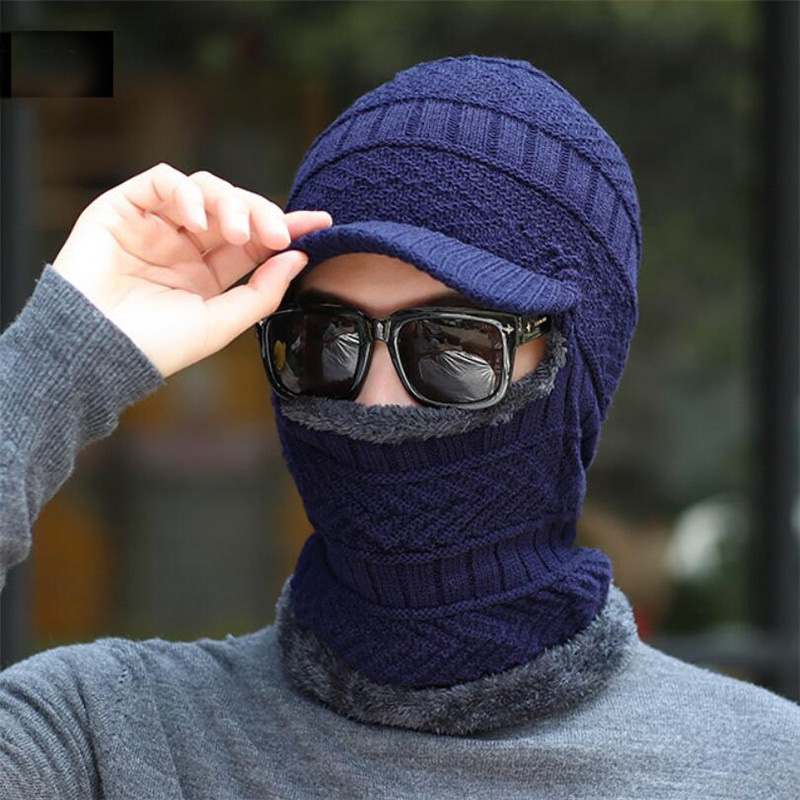 Men Winter Hat Scarf Set Women Warm Knitted Plush Hooded Hat Scarf With Brim Male Visor Beanies Adult Solid Cap Ring Scarves