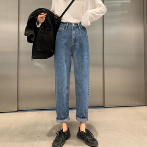 Image 3 - High Waist Jeans Women Streetwear Top Shop Novelty Personality Womens Denim Trousers Loose All Match Korean Fashion Simple Soft