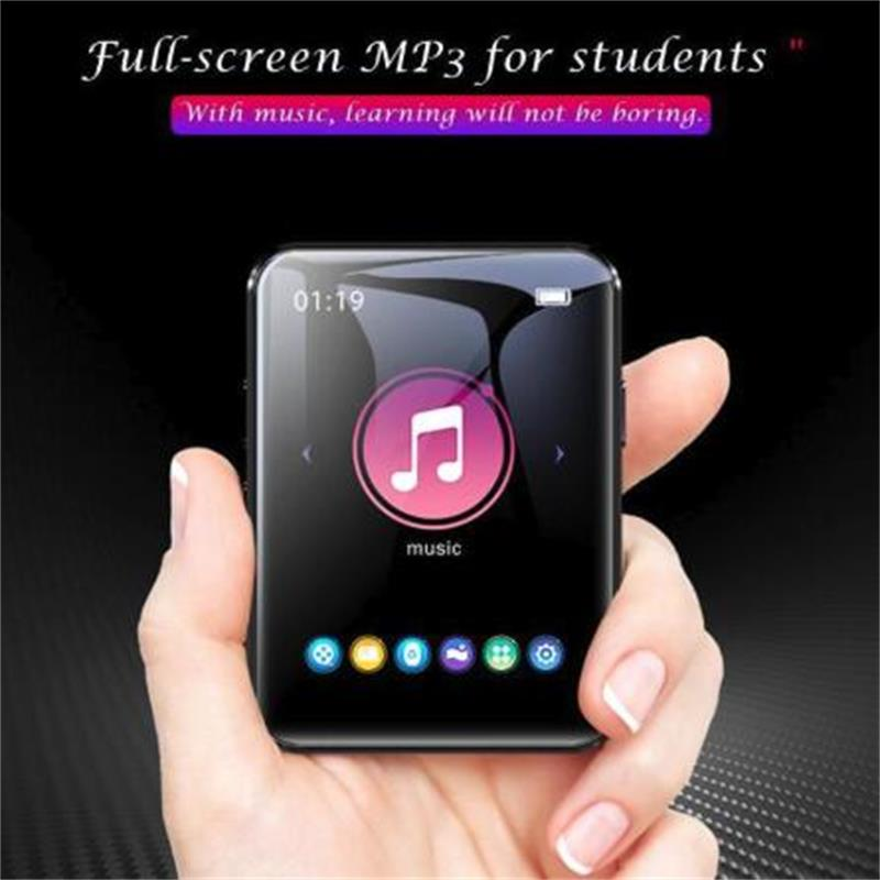 MP3 Player Bluetooth5.0 With Clip Built-in Speaker Full Touch Screen 1.8 Inch BENJIE X1 Metal Music Player With FM, Support SD