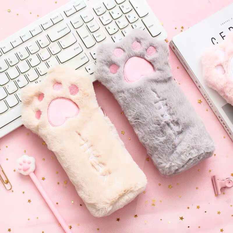 1PC New Arrival Kawaii Cat Paw Soft Plush Pencil Case Bag Cute Pencilcase For Girls Kids Birthday Gift School Stationery