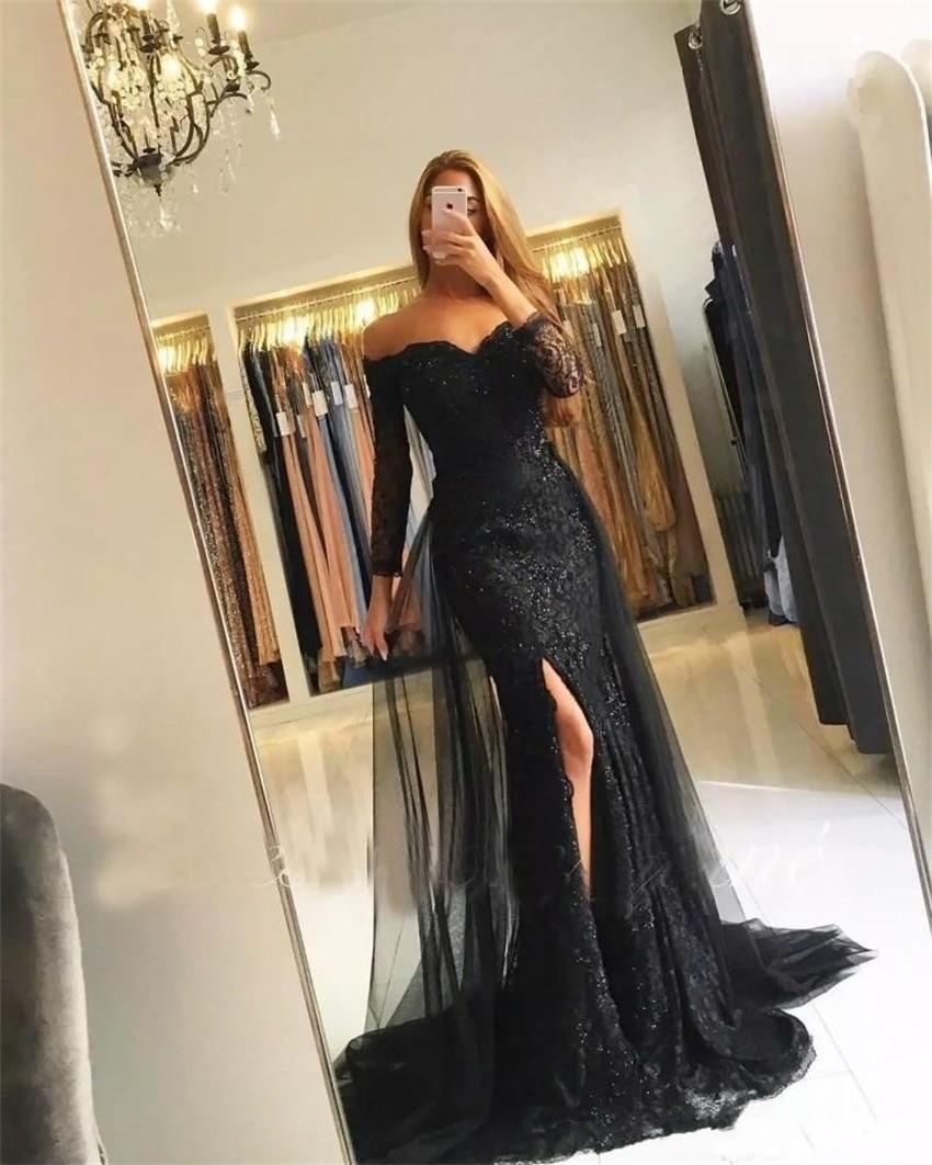 Silvery Muslim Evening Dresses 2020 Mermaid 3/4 Sleeves Lace Beaded Slit Islamic Dubai Kaftan Saudi Arabic Long Evening Gown