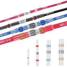 10/30/100 peças de fios de solda shrink, conector isolado, bunda, conector para fio conectado awg 26-24/22-18/16-14/12-10