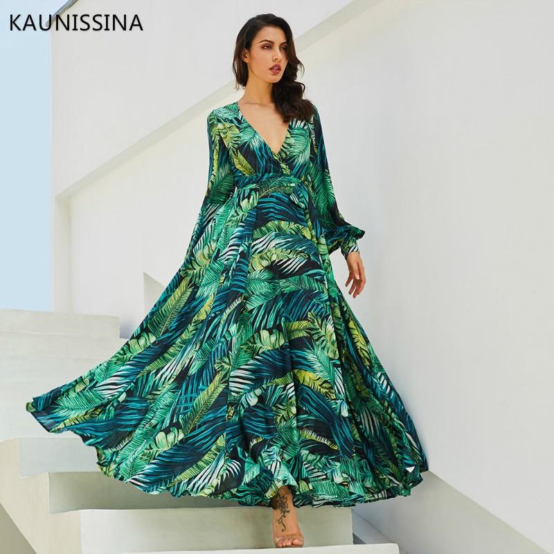 KAUNISSINA Women Vintage Maxi Long Sleeve Evening Dress Boho V Neck Belt Lace Up Tunic Draped Floral Party Gown Foraml Proms