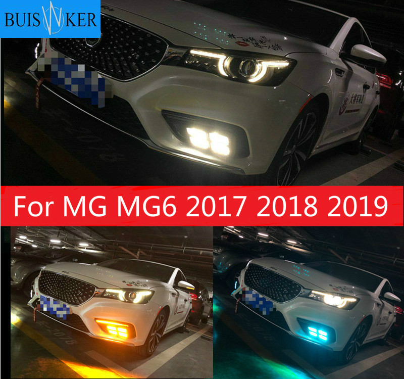 For MG <font><b>MG6</b></font> 2017 2018 <font><b>2019</b></font> LED DRL daytime running light with Dynamics moving flash turn signal and blue night light image