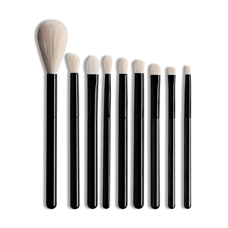 OVW 8/9pcs White Goat Hair Makeup Eye Shadow Blending Brushes Set Highlight Blusher Black Handle Portable Travel Crease Shader
