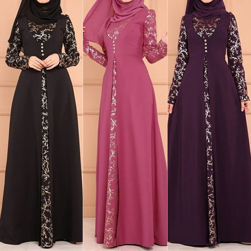 Fake Two Pieces Set Fashion Muslim Lace Maxi Dresses Long Sleeve Plus Size Slim Fit Pure Color Islamic Clothing