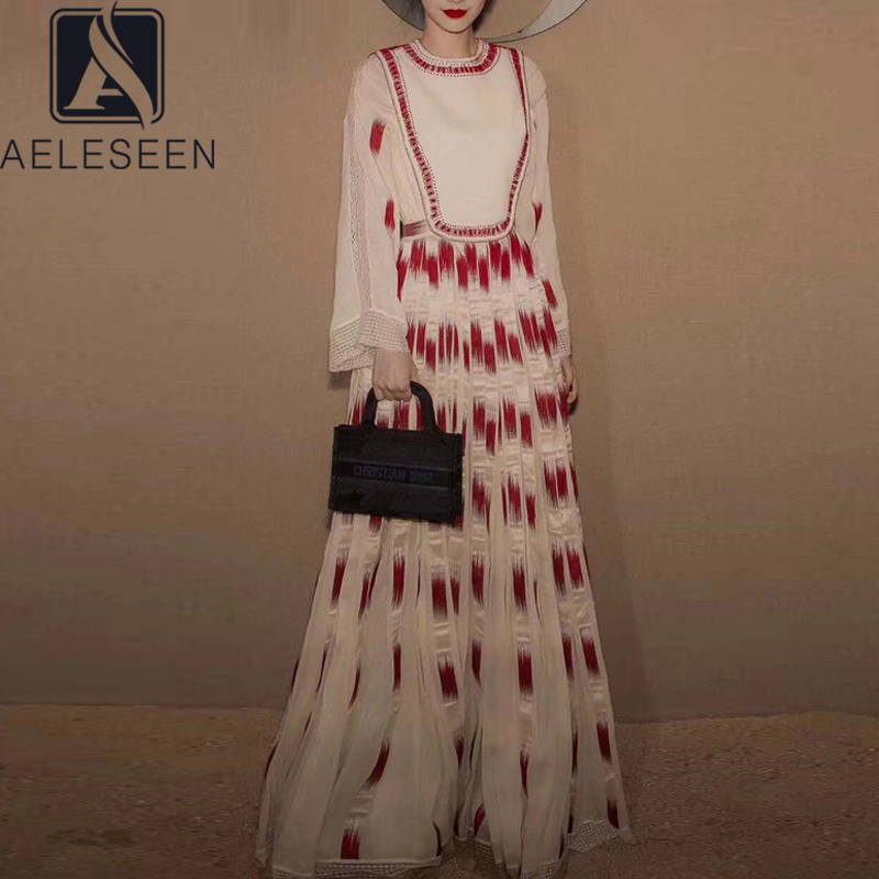 AELESEEN Runway Fashion Women Dress 2020 Spring Summer Plus Size Dress Flare Sleeve Lace Patchwork Sequined Plaid XXL 3XL Dress image