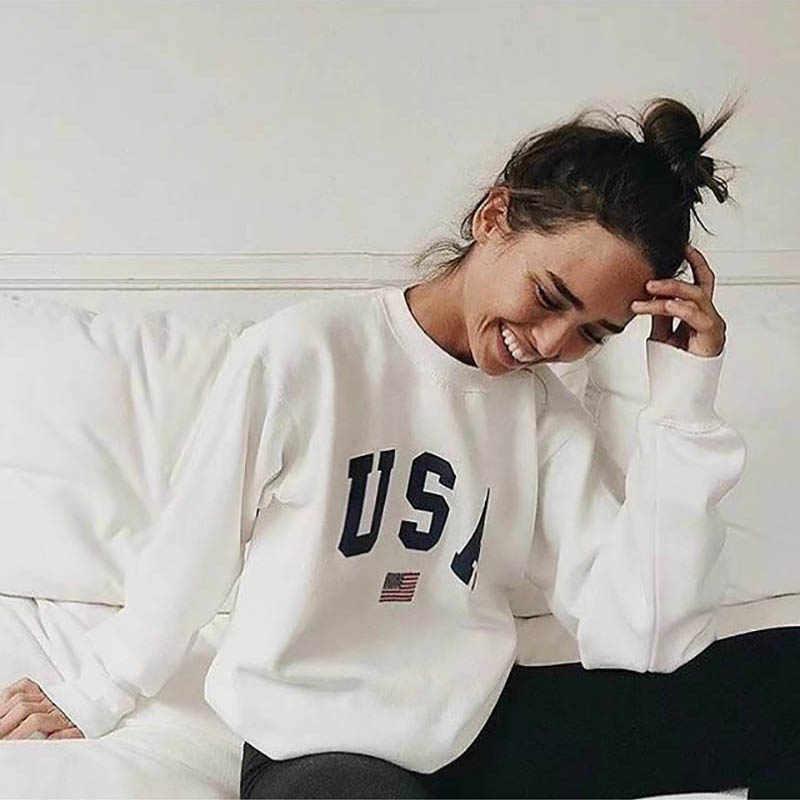 พิมพ์ใหม่แฟชั่นผู้หญิงเสื้อแขนยาว Hoodie เสื้อกันหนาว Harajuku จัมเปอร์ Hooded Pullover Tops Casual หลวมเสื้อสีขาว