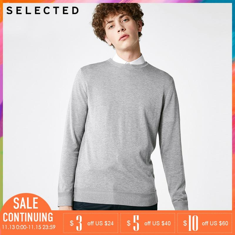 SELECTED Men Mulberry Silk Sweater Pullover Knitted Pure Color Sweater| 418324516