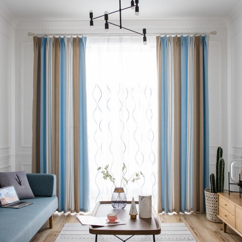 Blackout Drapes Blue Sheer Voile for Window Bedroom Panel ...