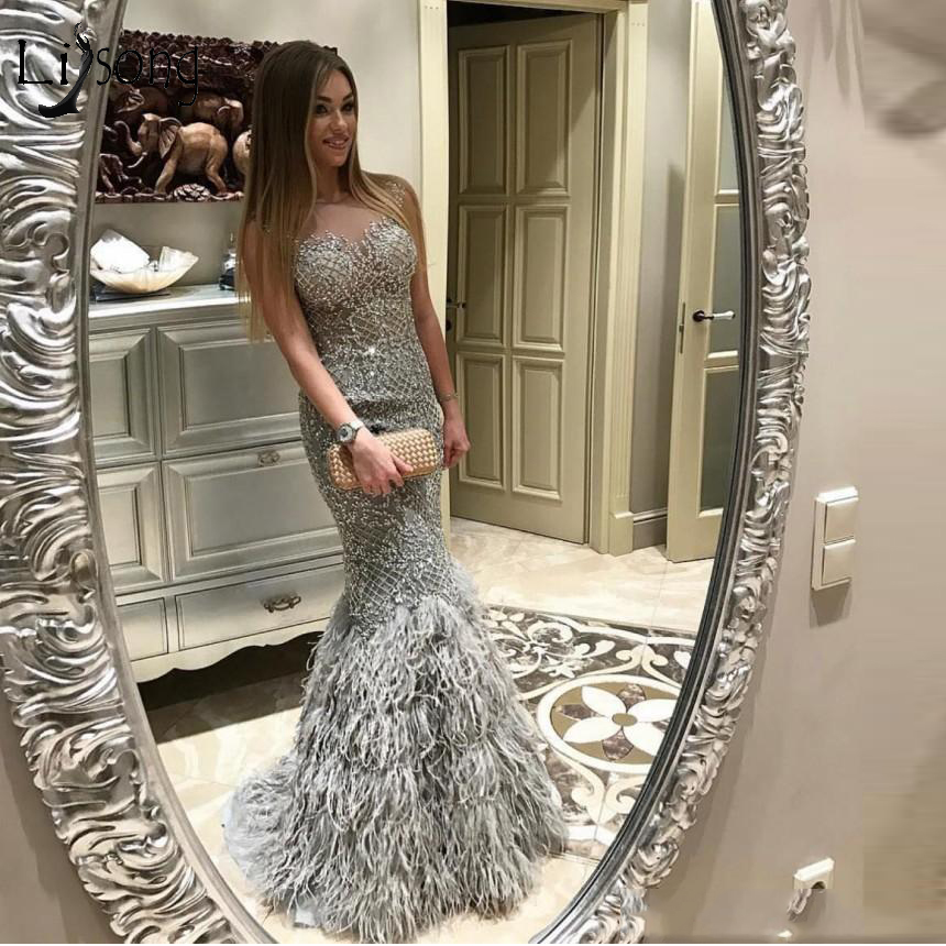 Luxury Gray Feather Mermaid Evening Dresses Lace Sparkle Crystal Stones Sexy Long Prom Gowns Dubai Formal Dress