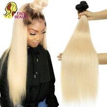 Yüz güzellik 1B 613 Ombre sarışın brezilyalı düz saç demetleri 2 ton koyu kökleri platin Remy insan saçı örgüsü 1/3/4 demetleri