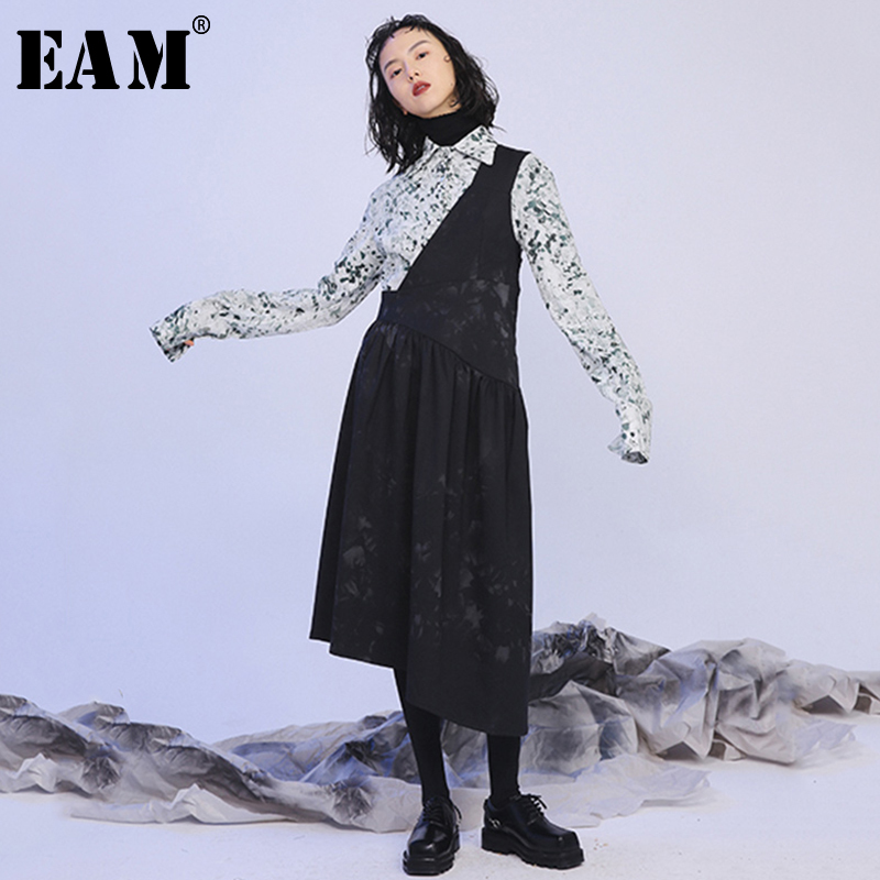 [EAM] Women Black Print Pleated Split Joint Dress New Asymmetrical Sleeveless Loose Fit Fashion Tide Spring Autumn 2020 1N390