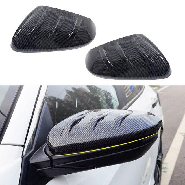Preto 1 par de fibra carbono estilo porta lateral espelho retrovisor capa guarnição tampa apto para honda civic 2016 2017 2018 2019 2020