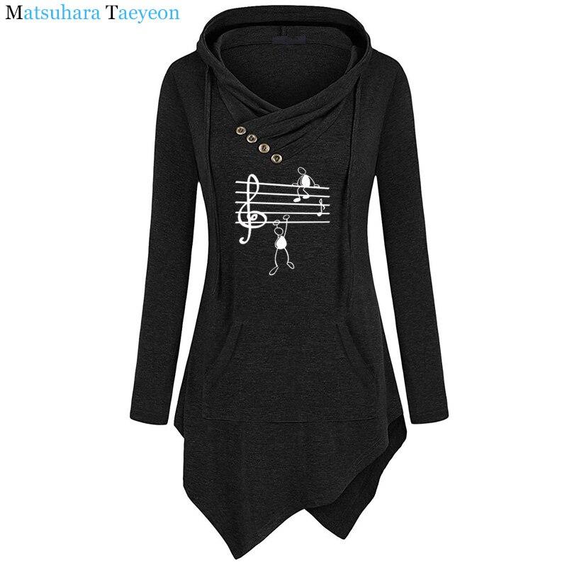 2019 New Music Notes Funny Print Hoodie Women Summer Style Cotton Long Sleeve Sweatshirt Hoodies Funny Irregular Clothing 14