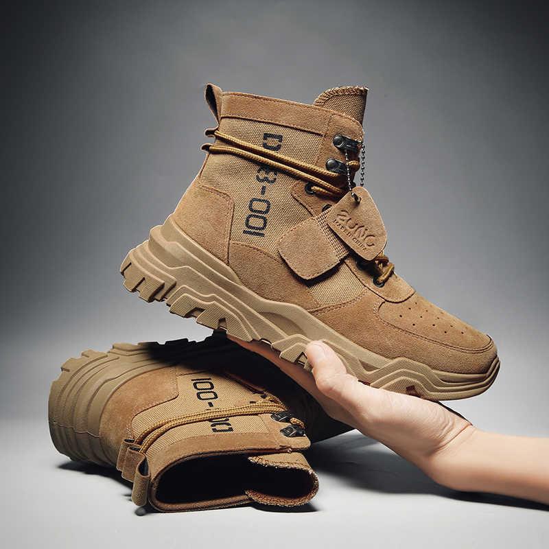 Büyük dalga süet ordu çizme tuval erkek askeri postal erkek ayakkabı güvenlik motosiklet botları savaş Mens asker bileğe kadar bot taktik