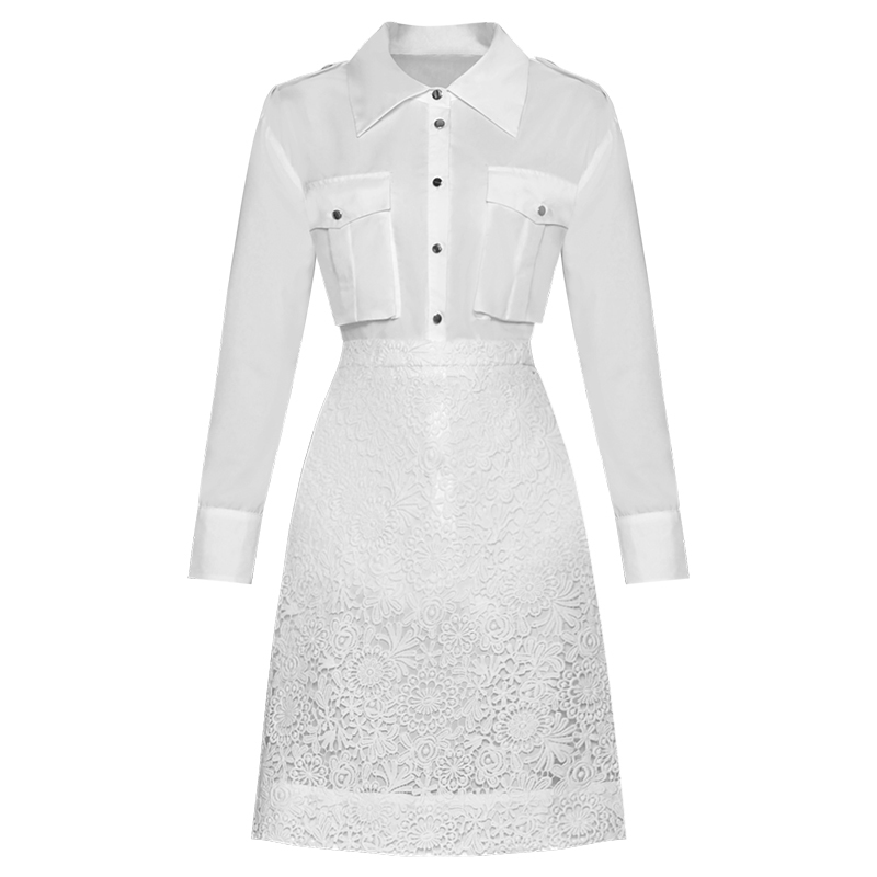 Ladies Office Wear Luxury High Quality Splice Long Sleeve Blouse Lace Runway Designer Slim Midi Knee Length A-line Dress Women