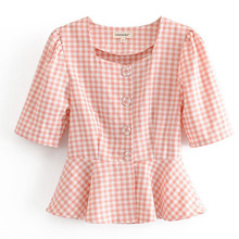Summer Plaid Printed Tops Women Sexy Blouses Female Outerwear Ladies Sh