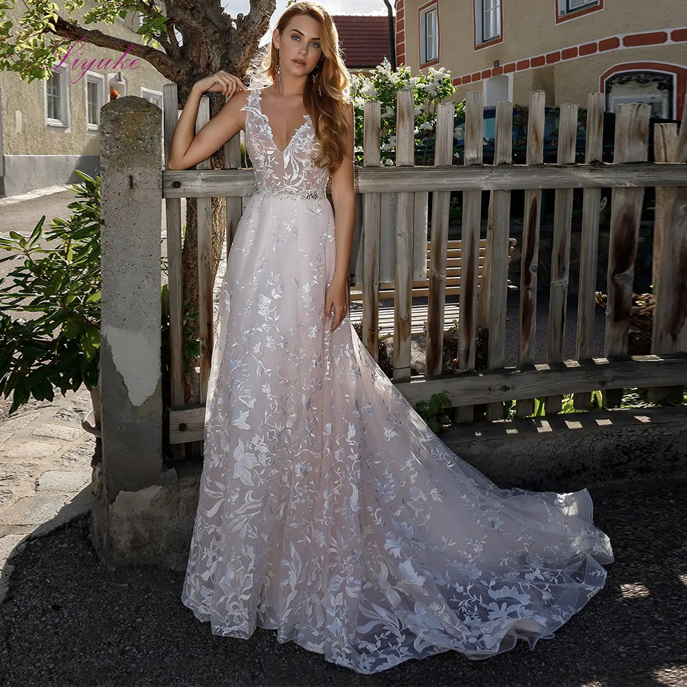 Liyuke 2019 Married A-line Wedding Dress V-Neck Lace Appliques Gorgeous Sleeveless Beading Sash Organza Customized Floor Length