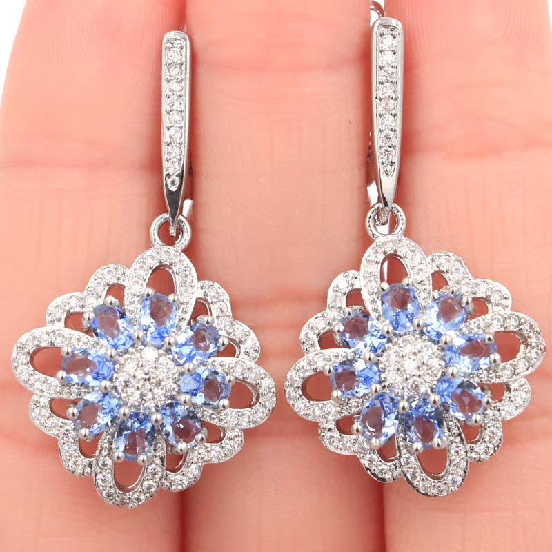 38x20mm Beautiful Rich Blue Violet Tanzanite CZ Woman 39 s Gift Silver Earrings in Earrings from Jewelry amp Accessories