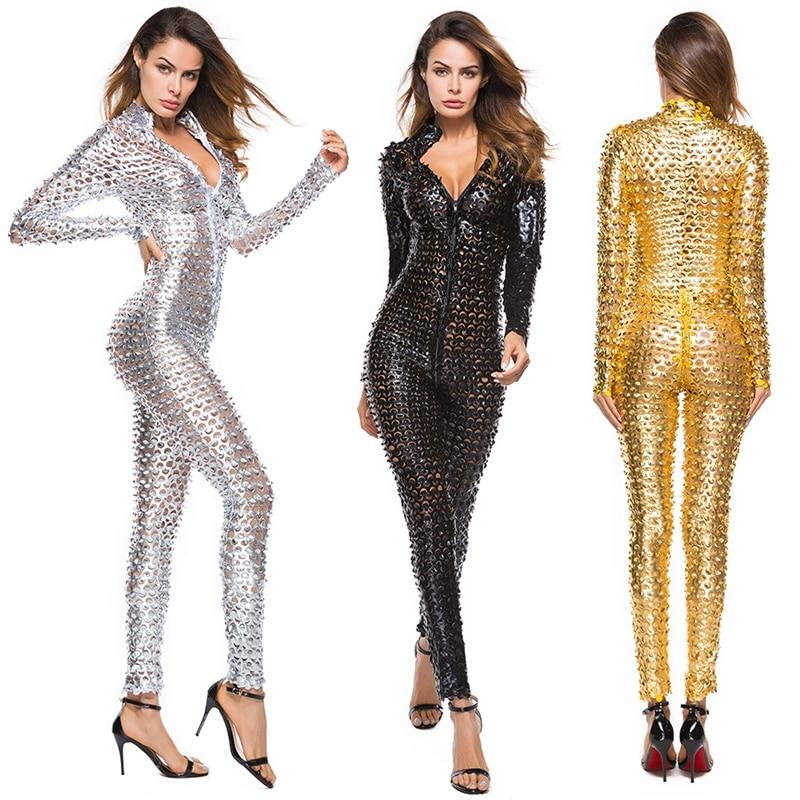 Sexy Lingerie Women Faux Leather Catsuit PVC Latex Bodysuit Zipper Open Crotch Stretch Bodystocking Hot Erotic Costumes Clubwear