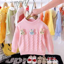 Teenster Autumn Kids Clothes Cute Rabbit Baby Girls Knit Sweater Tops Fashion Toddler Children Costume Winter Outfits