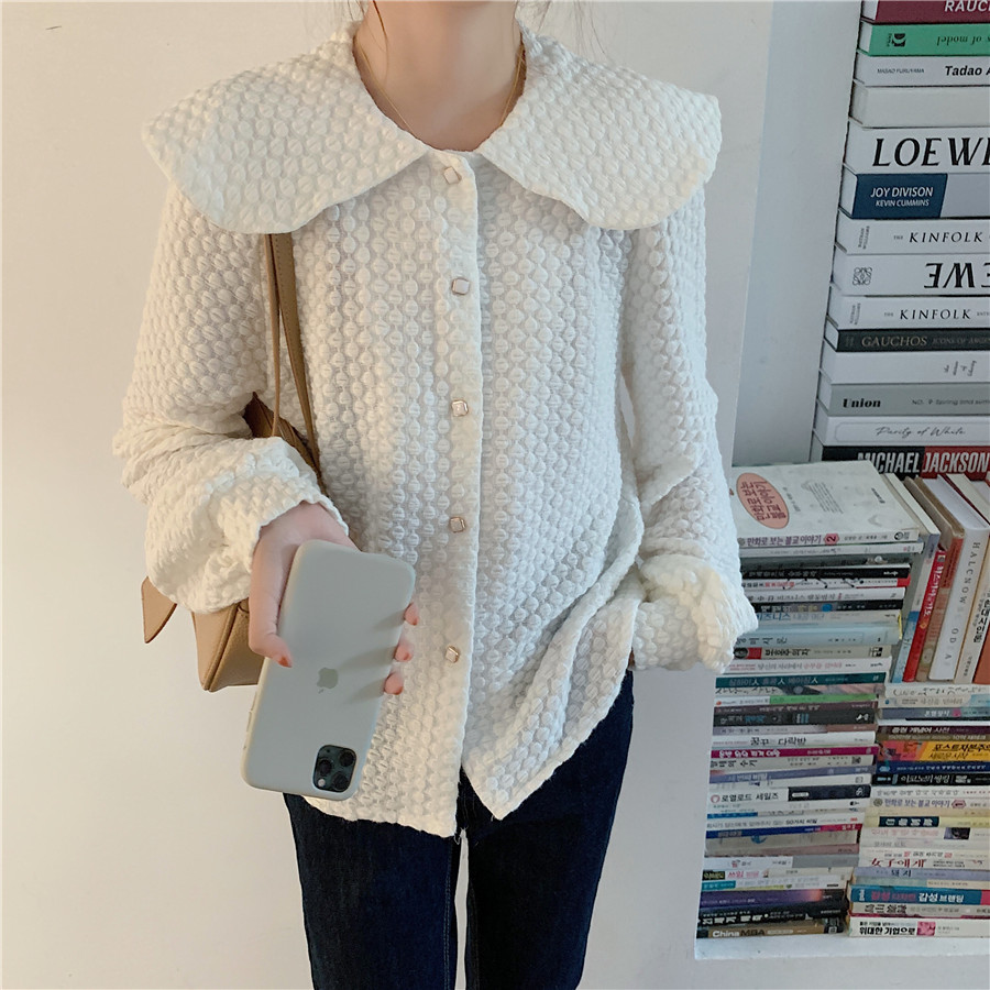 H7e7d13628b6e4e1c8787f85f89d42d36h - Spring / Autumn Big Lapel Long Sleeves French Lace Buttons Blouse