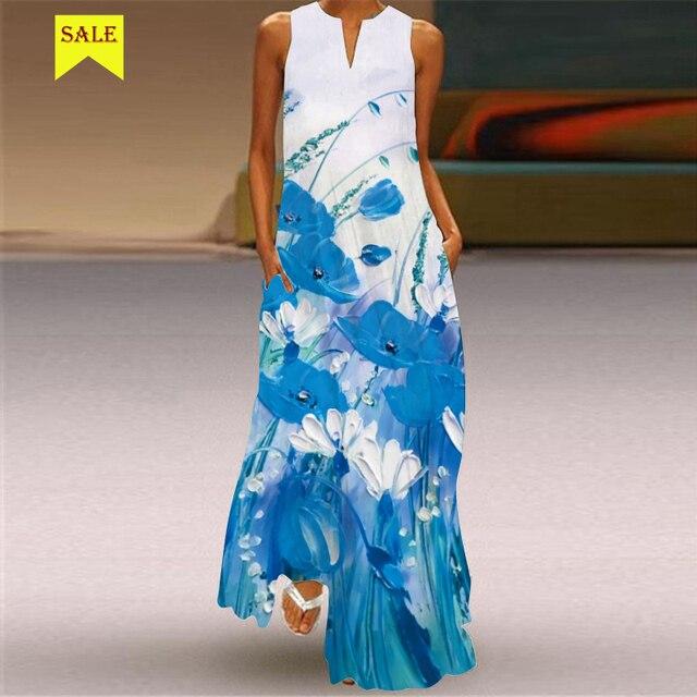 MOVOKAKA 2021 Maxi Dress Women Summer Beach Dot Btterfly Print Sleeveless Elegant Dress V Neck Casual Plus Size Vestidos Dresses 3