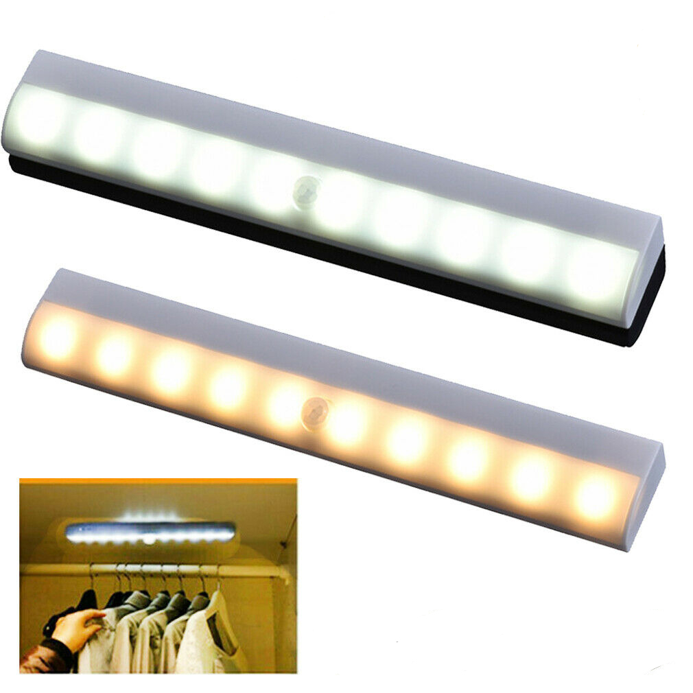 10LED Motion Sensor Strip Light Closet Light Under Cabinet Night Light For Closet Stairs Kitchen