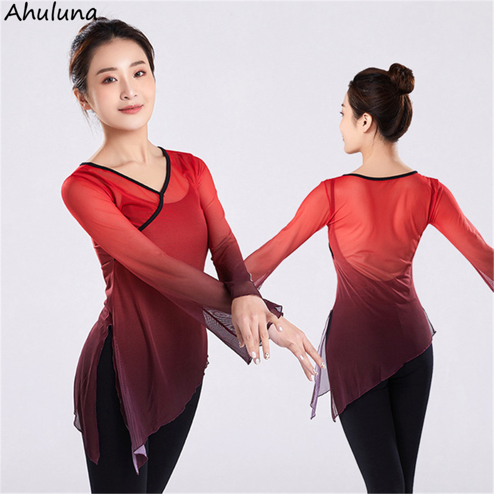 New Modern Classical Dance Tops For Women Long Sleeve Mesh Training Stage Dancing Costumes Female Classical Dance Clothes D042