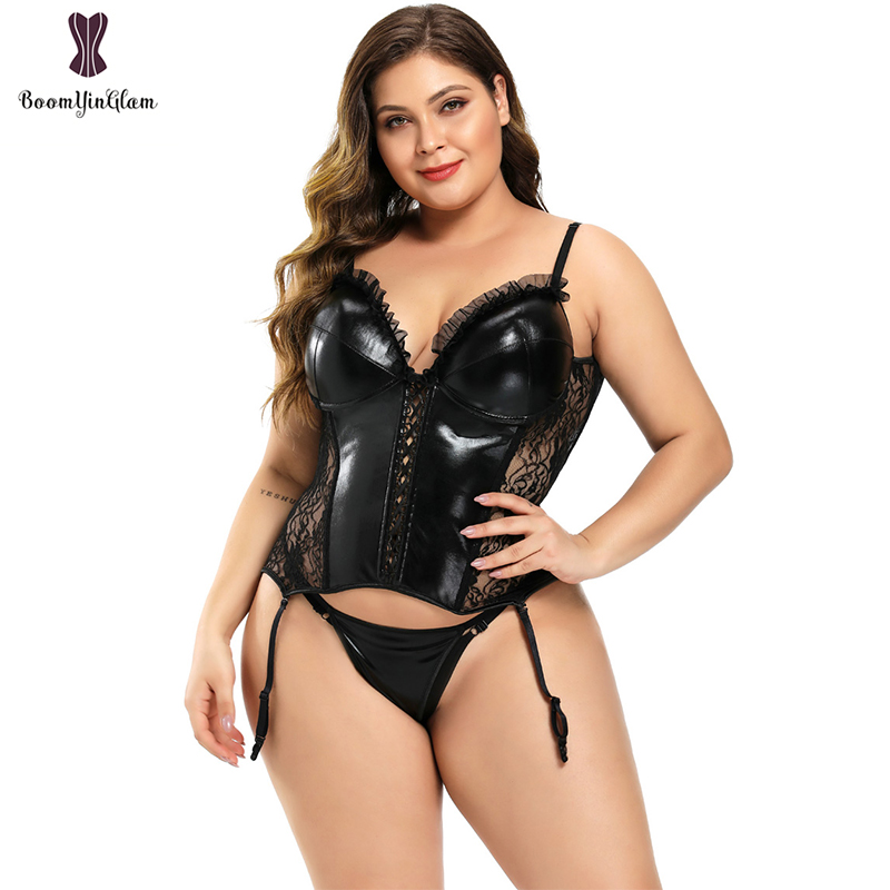 Removable Straps Transcult Sexy Lingerie Sequin Leather Floral Lace Corset Women Overbust Bustier Top With Suspenders