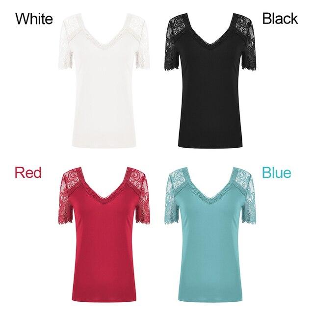 Camiseta de encaje, Tops para mujer, Camiseta con cuello en V, camiseta Sexy de verano, Camiseta ajustada de manga corta, nueva camiseta 2020, ropa de mujer, camisas 6