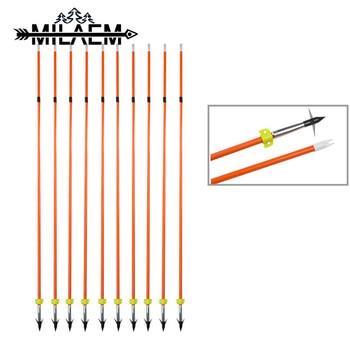 12 piezas de flecha de fibra de vidrio para pesca OD7.8mm con punta de flecha fija de 100 granos y accesorios de pesca amarillos para exteriores