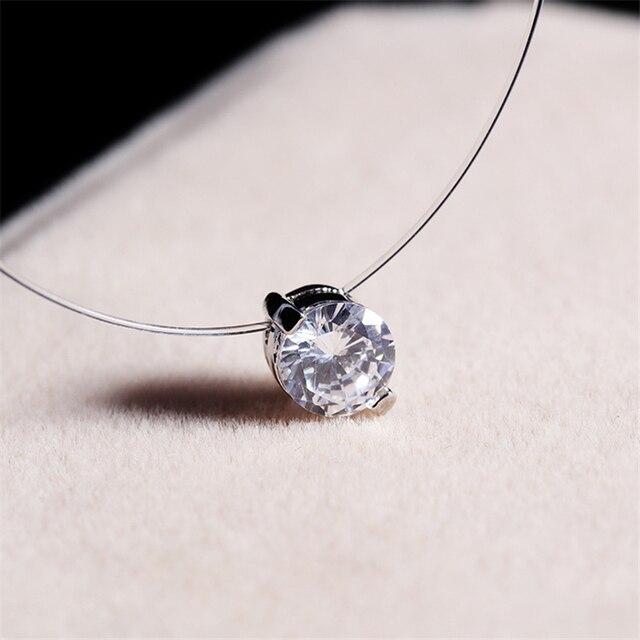 Transparent Line Link + Crystal Pendant Necklace 4