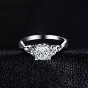 Image 3 - JPalace Celtic Knot Princess CZ Engagement Ring 925 Sterling Silver Rings for Women Anniversary Wedding Rings Silver 925 Jewelry
