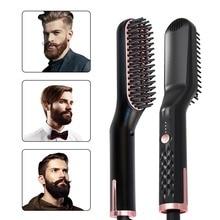 3 in 1 Multifunctional Hair Comb Brush Beard Straightener Straighten Straightening Curler Quick Styler