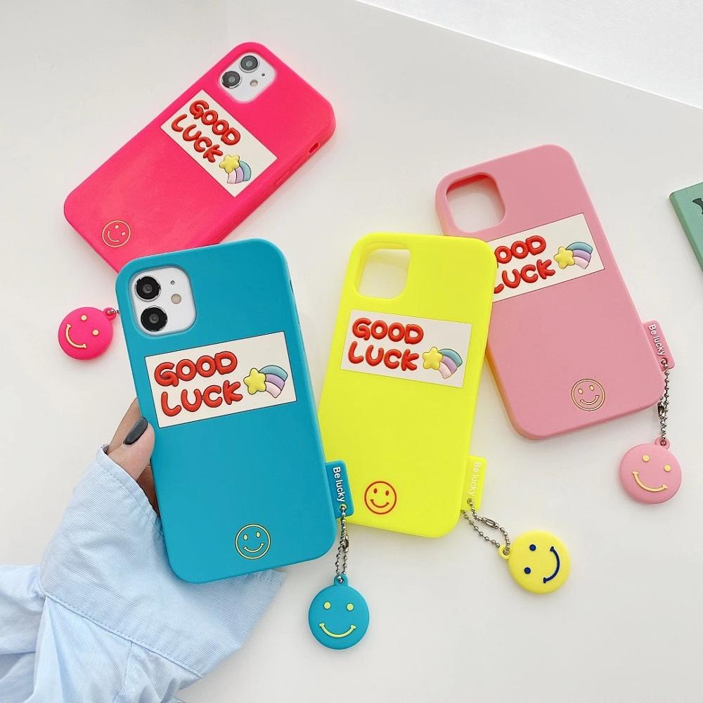 Silicone Smooth Good Luck meteor With Smiling Face Phone Case For iphone6 7 8Plus XR XSMAX 11Pro Buy One Get Corresponding Ring 3