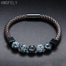 HMSFELY Luxury Fashion Men Beaded Black Leather Bracelet Jewelry Braided Rope Stainless Steel Magnetic Bracelets Bangles For