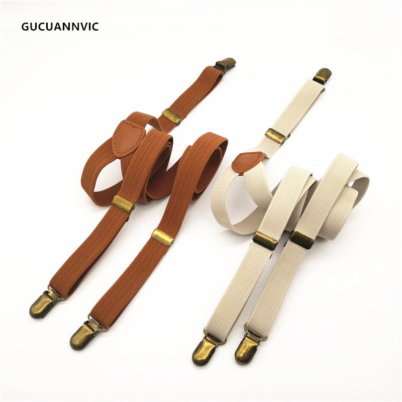 HOT Breathable Elastic Suspenders Women Mens Braces With Bronze Retro Slings White And Brown Three Clip Straps