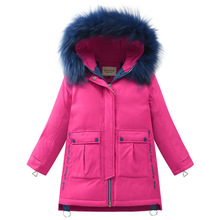 Winter Warm 90% White Duck Down Long Child Coat Fur Children Outerwear Embroidery Girls Down Jackets Kids Outfits For 110-160cm цены