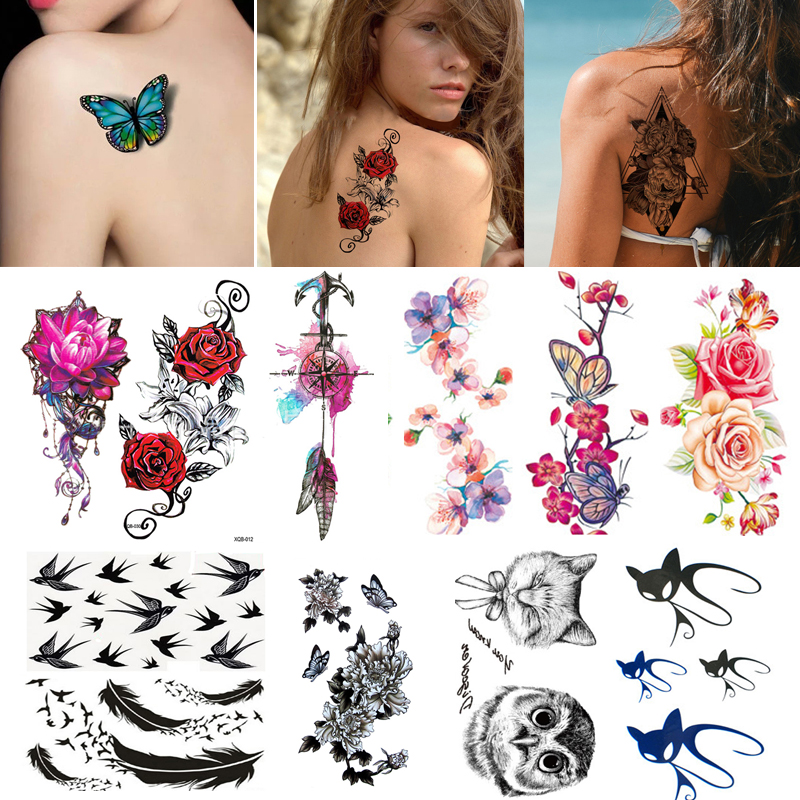 2/3/4/5/7Pcs Waterproof Tattoo Stickers Water Decal Body Arm Temporary Sticker Flower Letter Print Fake Tattoos Body Art Sticker