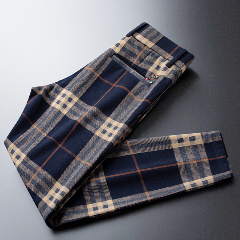 Warm blue brushed plaid casual pants men's straight loose British style pants autumn and winter thick trousers